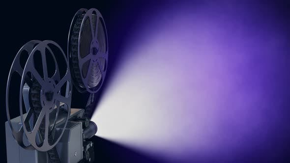 Film Projector with Empty Cinema Screen in the Blue Color Fractal Light Rays