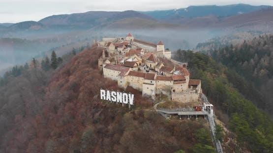 Scenic view of the Rasnov Citadel by Drone - Romania