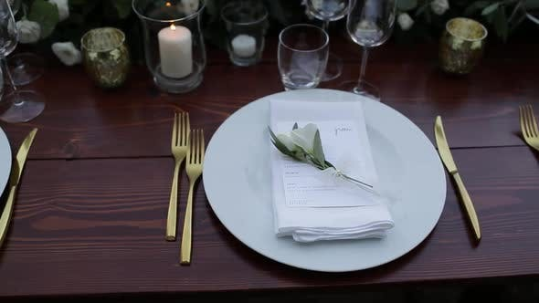 Thumbnail for Elegant Wedding Reception Table Setting, Reverse Dolly Shot
