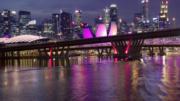 Thumbnail for Benjamin Sheares Bridge and Night Skyscrapers of Singapore