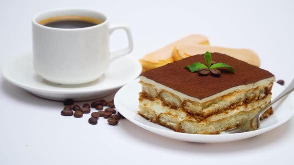 Thumbnail for Tiramisu Dessert Square Portion, Savoiardi Cookies and Cup of Coffee Isolated on White Background