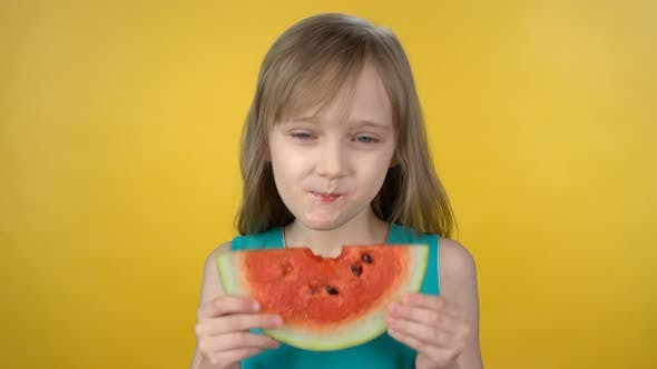Thumbnail for Cute Little Girl Eating Watermelon