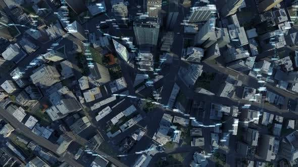 Thumbnail for City Buildings With Digital Data And Information 4K (Top View)