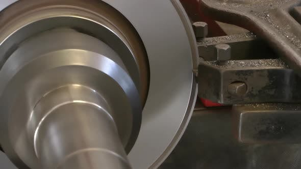 Thumbnail for Lathe Turning Machine Freeze Car Brake Disc Closeup View