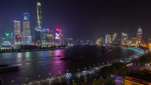 Thumbnail for Buildings with Ads on Huangpu Banks in Shanghai Timelapse