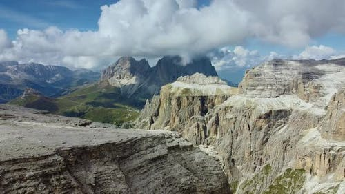 Amazing Aerial View From Piz Boe Mountain in Italian Dolomites