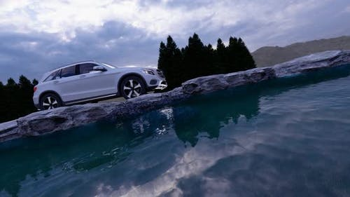 White Luxury Off-Road Vehicle on Stone Road