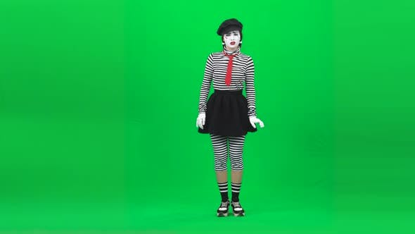 Thumbnail for Mime Girl Trying See Something Clearly. Chroma Key. Full Length