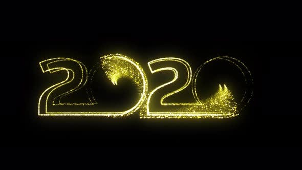 Thumbnail for Happy New Year 2020 Gold Sign