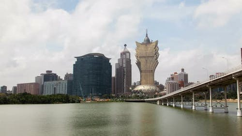 Great Cathedral of Macau By Nam Van Lake in China Timelapse