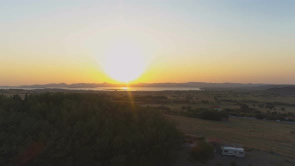 Thumbnail for Huge Golden Sun at Sea Landscape Sunrise Above Greek Island Limnos