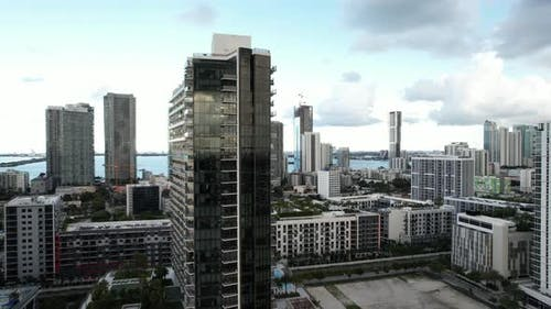 Aerial Reveal Modern Architecture Miami 4k