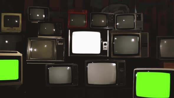 Retro TVs turning Off Green Screen. White Contrast Tone.