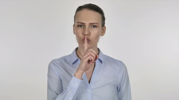 Thumbnail for Finger on Lips, Gesture of  Silence By Young Businesswoman