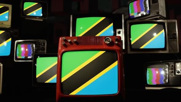 Flag of Tanzania and Retro TVs.