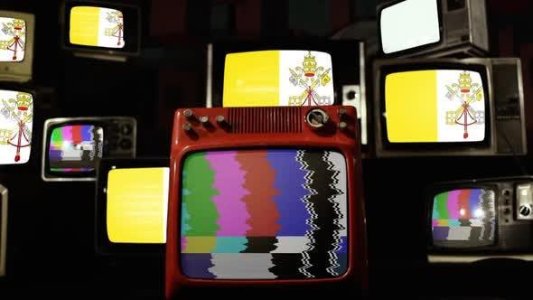 Flag of Vatican City on Stack of Vintage TV Set.