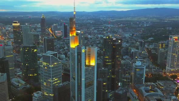 Thumbnail for AERIAL: View of Frankfurt Am Main, Germany Skyline at Night,City Lights, Traffic,Movement