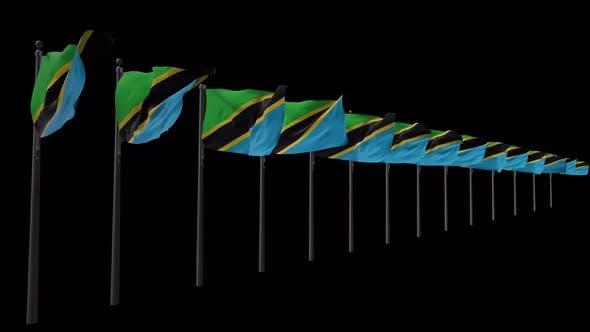 Reihe von Tansania-Flaggen mit Alpha 4K