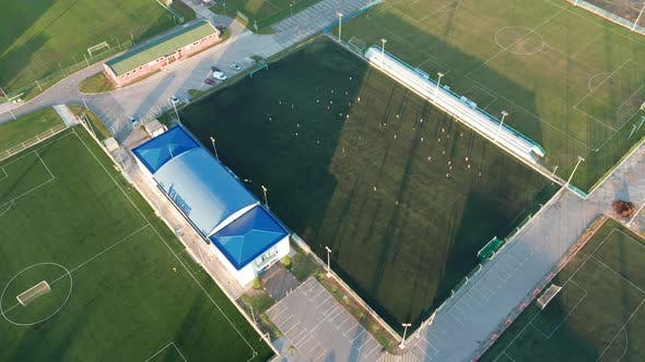 Football training ground (soccer pitches) - green fields used for sport camps.