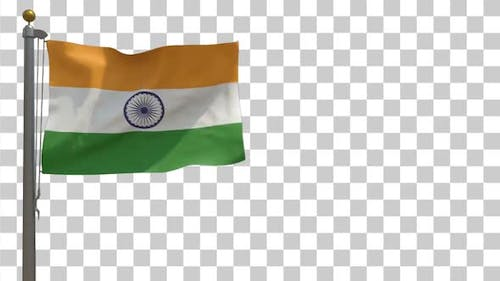 India Flag on Flagpole with Alpha Channel