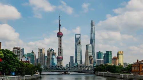 Zeitraffer der Skyline von Shanghai China