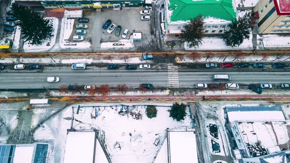 Top Down Aerial Overhead Perspective of Street