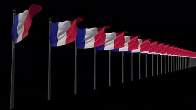 Row Of France Flags With Alpha 4K