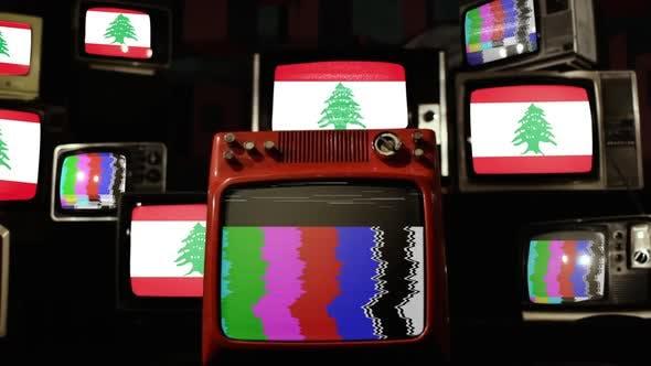 Lebanon flag on a Retro TV Wall.