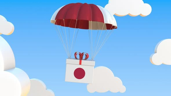 Carton with Flag of Japan Falls with a Parachute