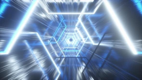 Thumbnail for Flying Through Glowing Neon Hexagon