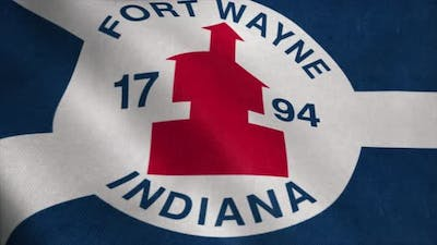 Fort Wayne City Flag City of Indiana in USA or United States of America