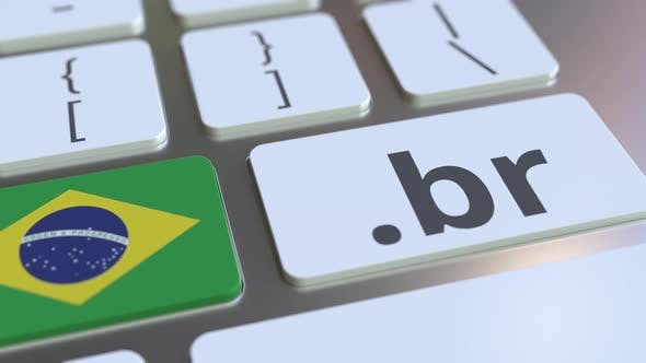 Brazilian Domain .Br and Flag of Brazil on the Keyboard