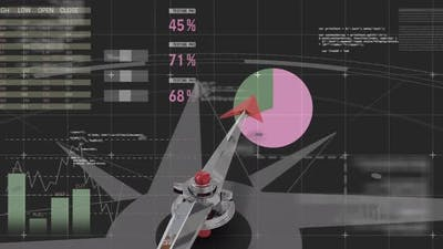 Animation of a compass against to a financial data dashboard