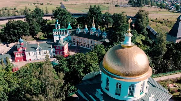 Thumbnail for Aerial View at the Walls of the Holy Dormition Pskovo-Pechersky Monastery. Pechory, Russia.