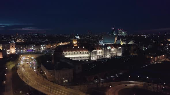 Thumbnail for Aerial View of the Old City Night Warsaw with the Square and the Royal Palace in the Night Lighting