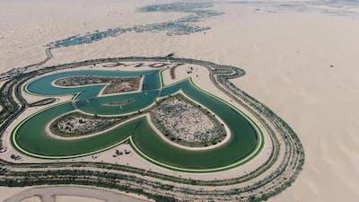 Aerial Footage of the Beautiful Love Lake in Dubai UAE