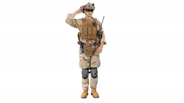 Military Soldier in Uniform Salutes on White Background