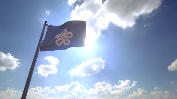 Fukuoka Prefecture Flag (Japan) on a Flagpole V4 - 4K