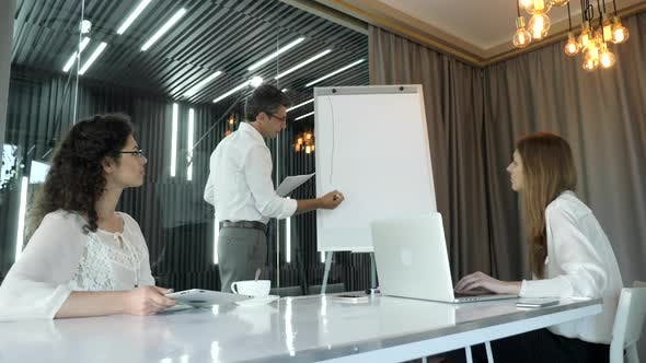 Businessman drawing on flip chart