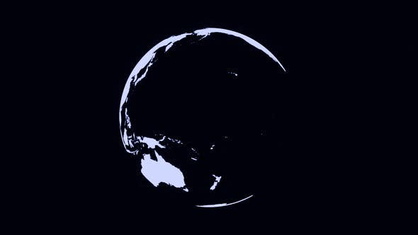 Abstract monochrome Earth planet rotating, seamless loop