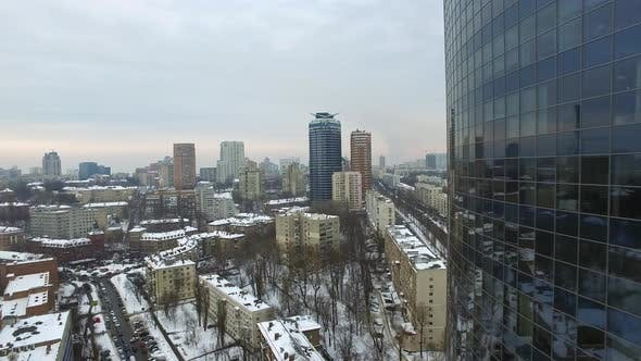 Thumbnail for Glass Skyscraper in City Architecture at Winter. Aerial View Business Skyscraper
