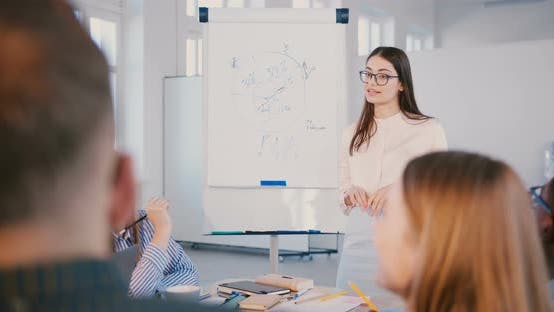 Thumbnail for Professional Young Positive Business Expert Woman in Glasses Speaking To Happy Multiethnic Team at