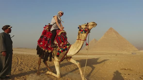 Female tourist sitting on camel in desert at Giza pyramids