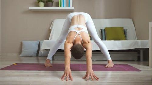 Caucasian Happy Woman Practicing Yoga, Sit in One Legged King Pigeon Exercise, Eka Pada