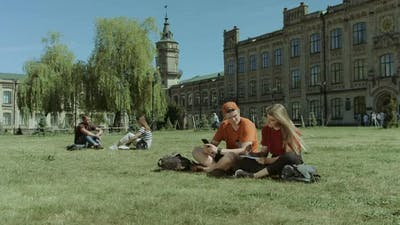 University Students Studying on Campus Lawn