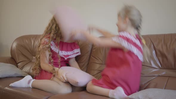 Thumbnail for Happy Blond Caucasian Mother and Little Daughter in the Same Dresses Playing at Home, the Girl Hits