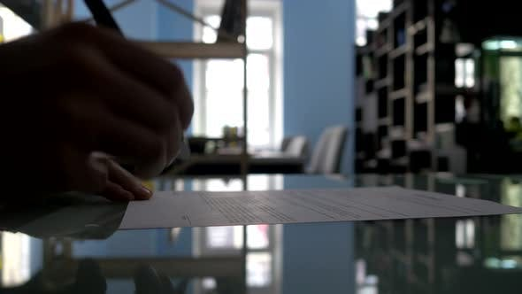 Thumbnail for Business People Signing the Contract To Conclude a Deal. Silhouette.