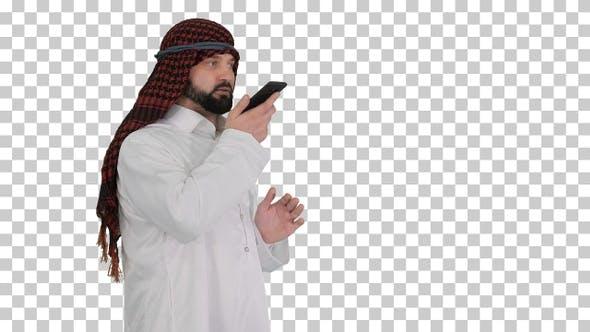 Arabian businessman recording voice message, Alpha Channel