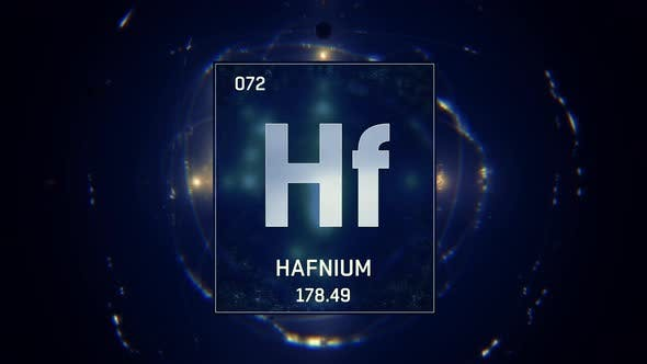 Hafnium as Element 72 of the Periodic Table on Blue Background in English Language
