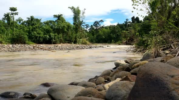 A timelapse of a tropical river with brown colored water in which the river